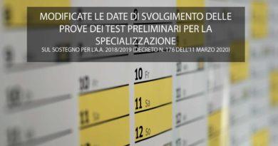 MODIFICATE LE DATE DI SVOLGIMENTO DELLE PROVE