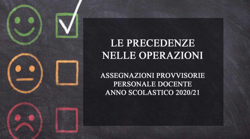 Assegnazioni provvisorie personale docente precedenze