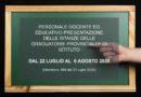 PERSONALE DOCENTE ED EDUCATIVO PRESENTAZIONE DELLE ISTANZE