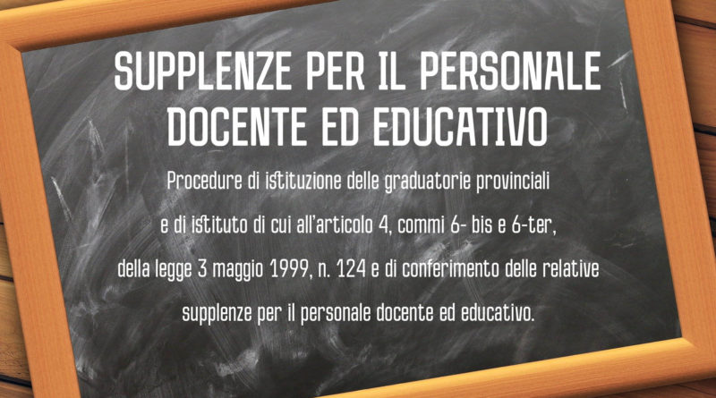 SUPPLENZE PER IL PERSONALE DOCENTE