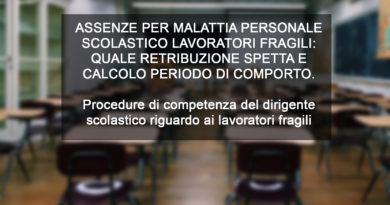 ASSENZE PER MALATTIA PERSONALE SCOLASTICO