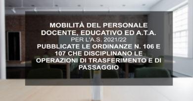 MOBILITÀ DEL PERSONALE DOCENTE